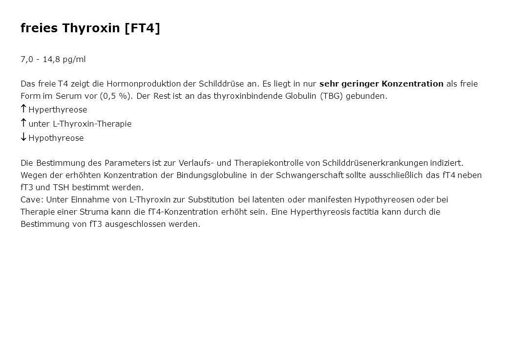 freies Thyroxin [FT4]  Hyperthyreose  unter L-Thyroxin-Therapie